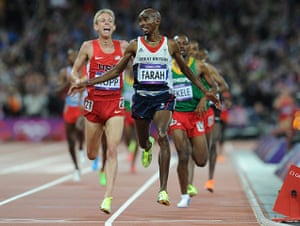 Tom Jenkins 4: Mo Farah of Britain runs to victory in the men's 10,000m