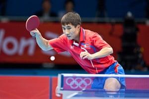 Table tennis: Bong Hyok Kim of North Korea returns to Seungmin Ryu of South Korea