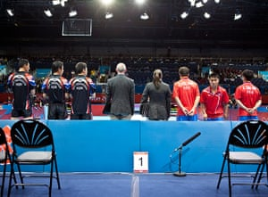 Table tennis: The Korean teams are introduced at the Excel centre