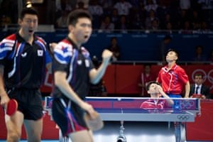 Table tennis: South Korea's S Oh & S Ryu celebrate a point