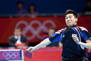 Table tennis: Seungmin Ryu of South Korea plays a fearsome forehand