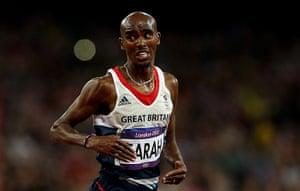 Mo Farah: Mo glances behind as he crosses the finishing line
