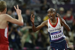 Mo Farah: Mo has a look of disbelief when he finishes the race