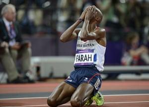 Mo Farah: Mo falls to his knees after the finish