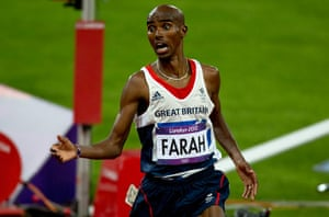 Mo Farah: Mo reacts with a look of shock after crossing the finish line