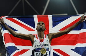 Mo Farah: Mo raises his head to the heavens with a union flag