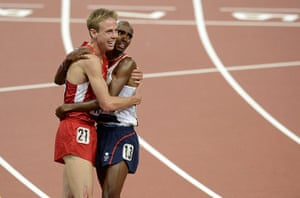 Mo Farah: Mo embraces his training partner and silver medalist Galen Rupp
