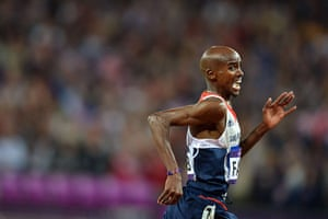 Mohamed Farah: Mo glances to his right in his sprint to the finish line
