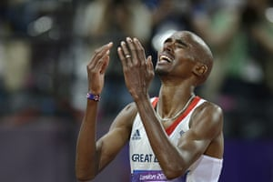 Mohamed Farah: Mo raises his hands to his faces at the shock of his accomplishment