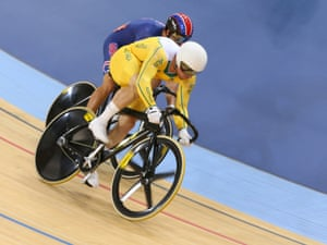 Shane Perkins of Australia competes against Jimmy Watkins of the United States