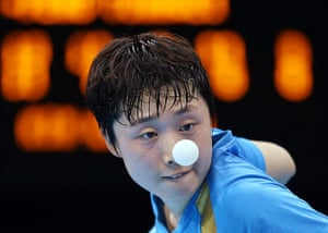 London 2012 Table Tennis: Tianwei Feng competes against Kim Kyungah in the Table Tennis