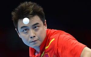 London 2012 Table Tennis: Wang Hao of China in action against Seiya Kishikawa Table Tennis