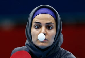 London 2012 Table Tennis: Neda Shahsavari against Olufunke Oshonaike during their table tennis match