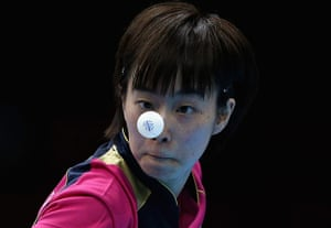 London 2012 Table Tennis: Kasumi Ishikawa of Japan competes during the Table Tennis