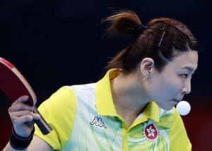 London 2012 Table Tennis: Jiang Huajun of Hong Kong Table Tennis Olympics 2012