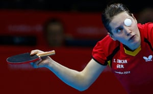 London 2012 Table Tennis: Irene Ivancan serves to Miao Miao tennis match London2012 Olympic Games