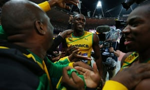 Usain Bolt after winning Olympic 100m title