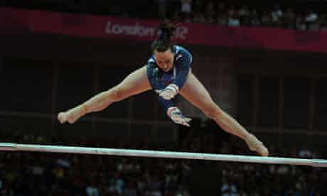 Beth Tweddle competing the uneven bars
