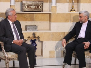 Lebanon's president Michel Sleiman (left) during a meeting with Saeed Jalili, the head of Iran's supreme national defence council on Monday.  Photo: AFP/Handout/Dalati and Nohra.