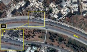 Elements of a Syrian armoured company are seen staged along a motorway in the Hamadaniya neighbourhood of south-west Aleppo. The position of tanks is marked. Photograph: Reuters/Digital Globe/Handout