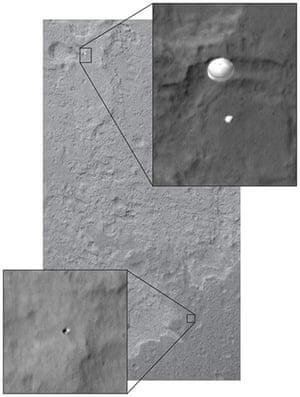 Mars Curiosity Rover : Late last night MRO/HiRISE of MSL descending on its parachute