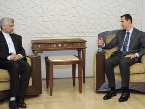 Syrian President Bashar al-Assad meeting Saeed Jalili, a top aide to Iran's supreme leader Ayatollah Ali Khamenei in Damascus on 7 August. Photo: Handout/AFP/GettyImages