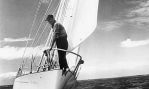 Francis Chichester on the deck of his yacht Gipsy Moth IV