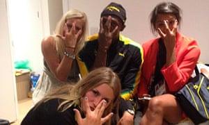 Usain Bolt with handball players