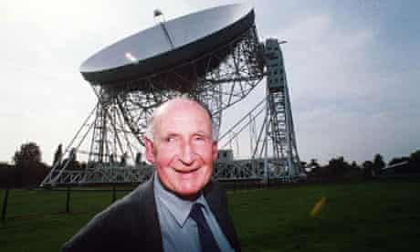 Jodrell Bank Observatory founder Sir Bernard Lovell, pictured in 1993 by the Lovell telescope