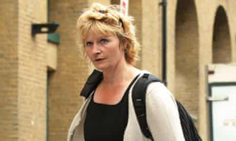 Former Lloyds bank online security boss Jessica Harper leaves court where she faces fraud charges