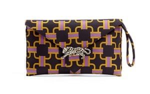 Fashion Wish List: Brown, pink and orange patterned clutch bag