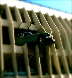 Your Pictures: Getaways: Model of a mini crashing through a wall