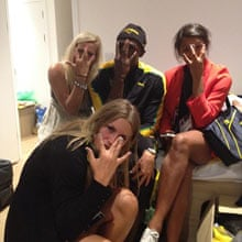Usain Bolt with Swedish handball team