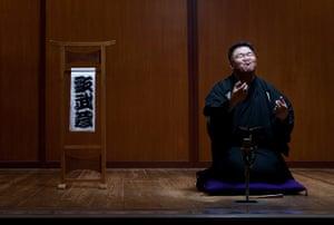 Big Picture: Sumo: Sanyutei Utamusashi, retired sumo wrestler practicing the art of Rakugo