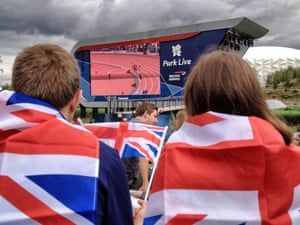 spectators couldn't take their eyes off the big Park Live TV screens in the Olympic park.