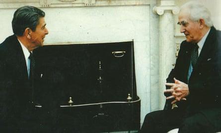 Brian Crozier with Ronald Reagan