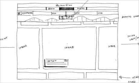 Early sketch for the Second Screen, with horizontal scroll