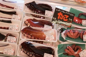 Soma, Japan: Locally caught octopus on sale in a supermarket