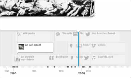 Timeline JS has an elegant zooming mechanic to deal with clustering