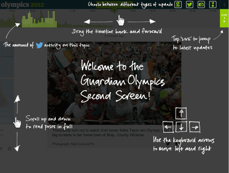 Guardian Second Screen, orientation page