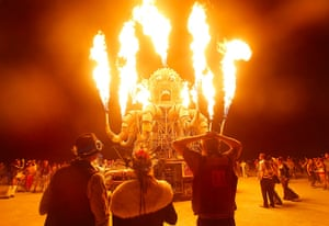 Burning Man: Festival goers watch the flames from El Pulpo Mecanico