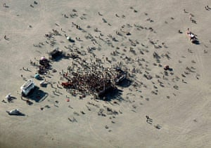 Burning Man: An aerial view of a dance party in the Black Rock Desert of Nevada