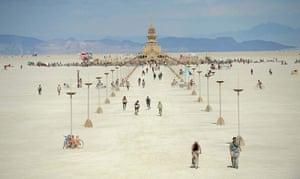 Burning Man: People walk toward the temple at Burning Man near Gerlach, Nevada