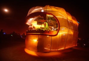 "Burning Man: Art car ""The Sperminator"" cruises the Playa at Burning Man Festival"