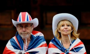 GB fans wait at St Paul's before the parade of champions through the centre of London
