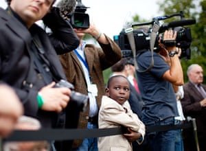24 hours: Berlin, Germany: A boy at the German President's residency