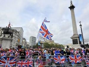 GB fans grab a prime spot in Trafalgar Square.