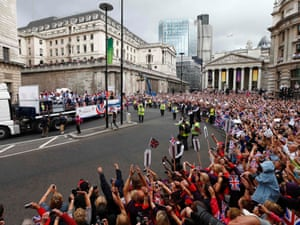 The parade goes past the Bank of England