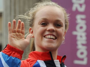 Swimmer Ellie Simmonds waves at the crowds.