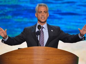 Chicago Mayor Rahm Emmanuel speaks to delegates at the Democratic National Convention in Charlotte, NC.